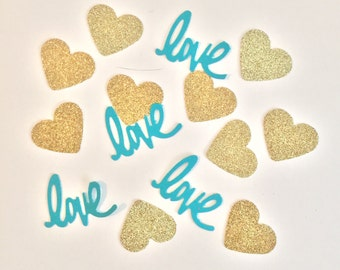 Aqua and Gold Confetti- Love Confetti- Bridal Shower Decor- Aqua and Gold Baby Shower Decor- Wedding Decor- Pink and Gold Wedding Decor