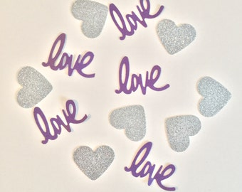 Purple and Silver Confetti- Love Confetti Bridal Shower Decor- Purple Silver Baby Shower Decor- Wedding Decor- Pink and Silver Wedding Decor