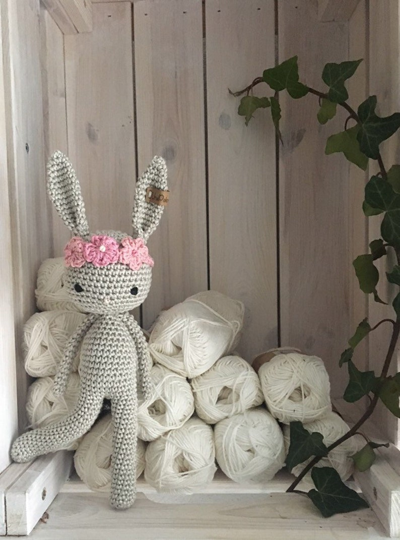 a lovely newoborn gift crochet toy newborn gift for baby shower or first photo prop crochet amigurumi Bunny with flower headband