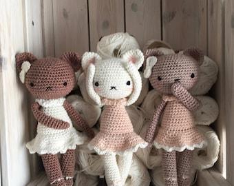 Amigurumi crochet Ballerina doll cat ALICIA, special gift for newborn baby or  Photo prop