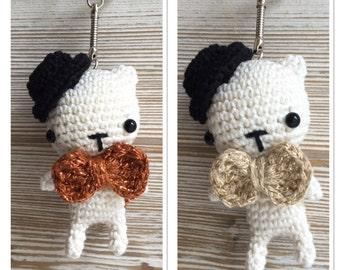 Teddybear Englishman keychain,crochet bunny keychain,amigurumi toy,bag charm,miniature bunny,handbag accessories, key ring,bunnies,amigurumi