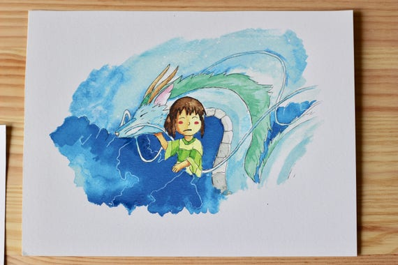 Haku And Chihiro Spirited Away Watercolor Painting Etsy