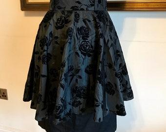 ee437e2d8c957 Vintage 80s rara skirt black layered floral vintage skirt