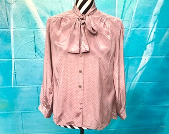 e17a3abc68bf75 Vintage blouse pussy bow blouse 80s blouse taupe mink