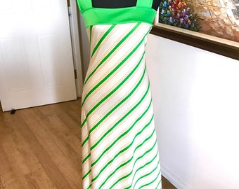 70s retro maxi vintage green striped dress