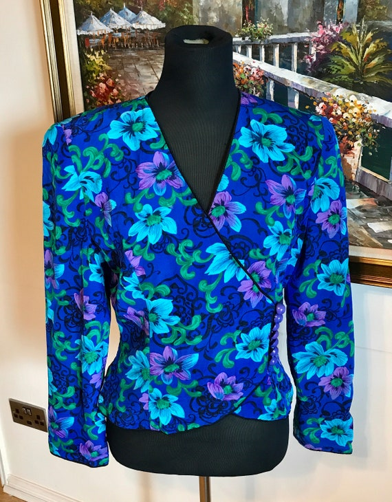 Vintage jacket 80s jacket blue floral statement ma
