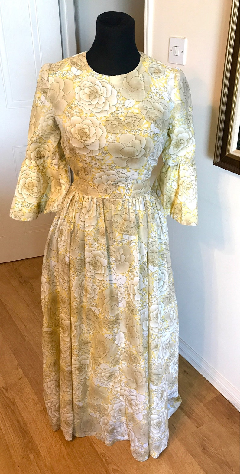 Vintage dress Yellow grey vintage maxi vintage dress floral bow retro