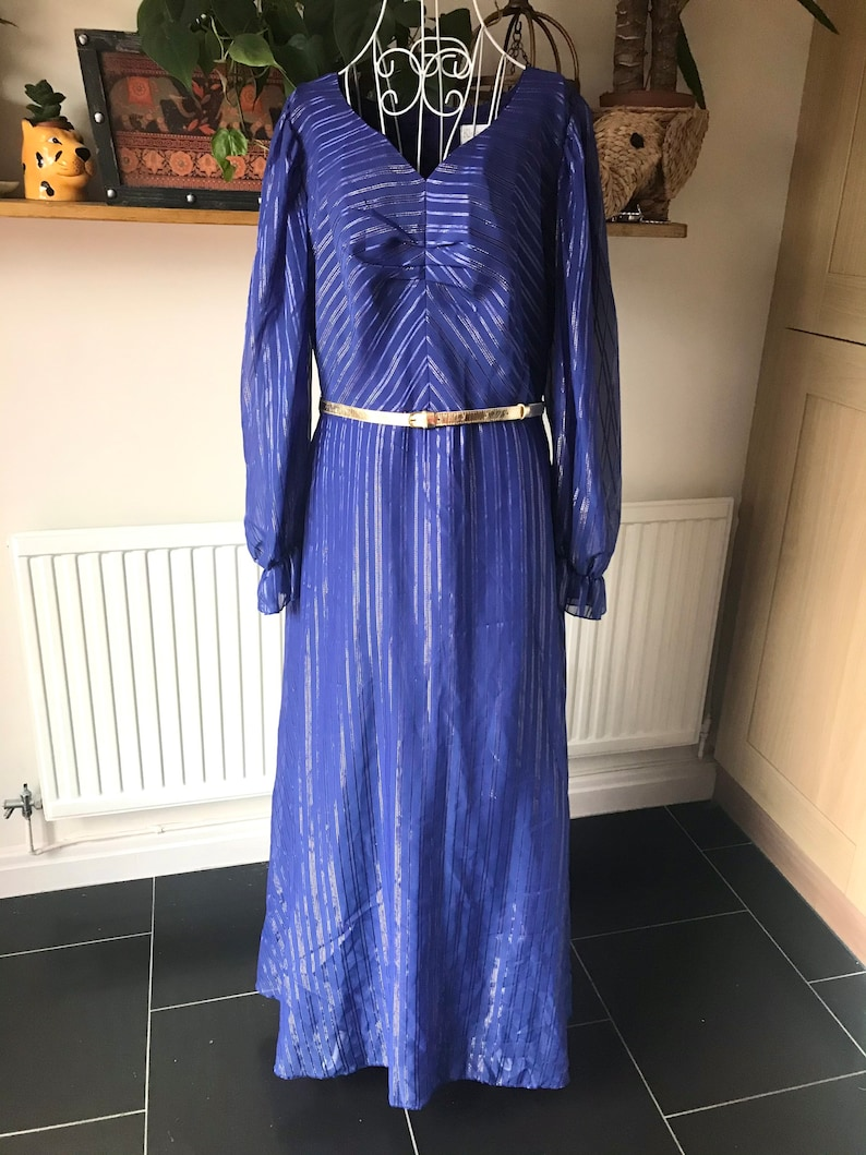 Vintage maxi dress blue gold glitter sheer sleeves 80s disco occasion