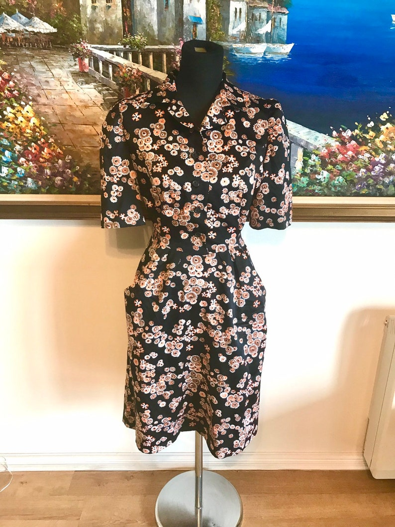 Vintage dress tea dress black floral 80s 70s dress
