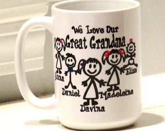Personalized great grandma gift, great grandpa mug, unique great grandmother mug, great grandma mug, great greatmother Fathers Day gift