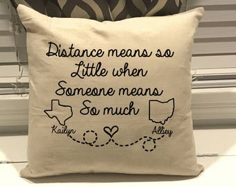 Long Distance Pillow Etsy