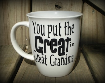 Personalized Great Grandma Cup, Great Grandpa Mug, Great Grandparent Gift, Grandma Gift,  Fathers Day Mothers Day Gift