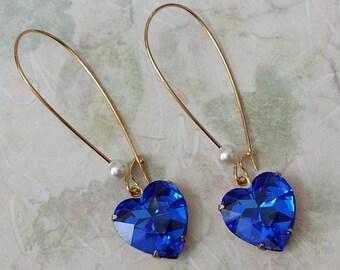 Sapphire Heart Earrings - Valentine Crystal Earrings - Gift for Valentine's - Sapphire Earrings - Swarovski Crystal Heart Earrings
