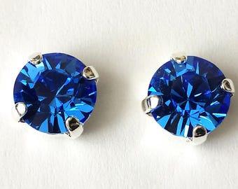 Blue Gemstone Crystal Antler Stud Earrings for Women Christmas Jewelry Gift Heiß