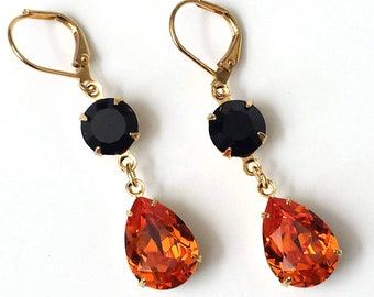 Spotted orange dangle earrings