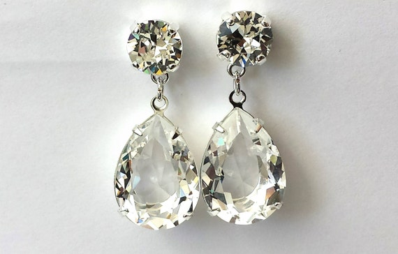 c2283ad95461a Swarovski Clear Crystal Earrings Crystal Double Drop Earrings Swarovski  Silver Drop Earrings Brides Crystal Post Earrings Prom Earrings