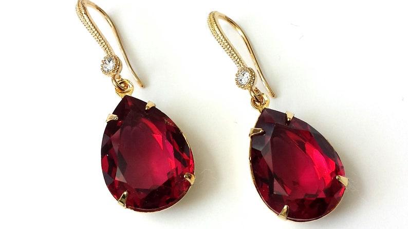 03d493308 Swarovski Ruby Earrings Swarovski Crystal Earrings Swarovski | Etsy