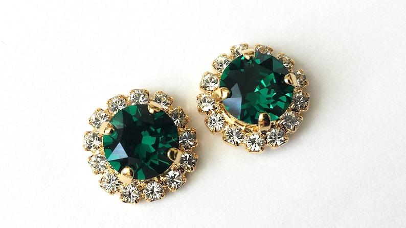 8056e5398 Swarovski Emerald Stud Earrings Emerald Green Post Earrings | Etsy