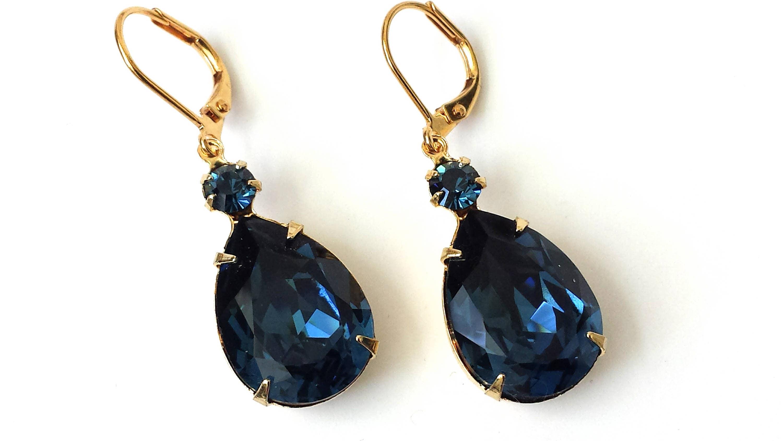Dark Sapphire Crystal Earrings Swarovski Navy Drop ...