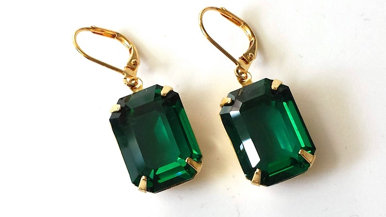 f0858c01d Emerald Crystal Earrings Swarovski Emerald Green Earrings | Etsy