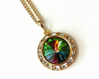 Vitrail Crystal Necklace Swarovski Vitrail Rhinestone Necklace Art Deco Necklace Swarovski Gold Necklace Crystal Rhinestone Necklace