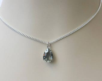 Swarovski Crystal Choker Necklace Black Diamond Dainty Choker Gray Pendant Necklace Silver Layering Choker Necklace Crystal Drop Necklace