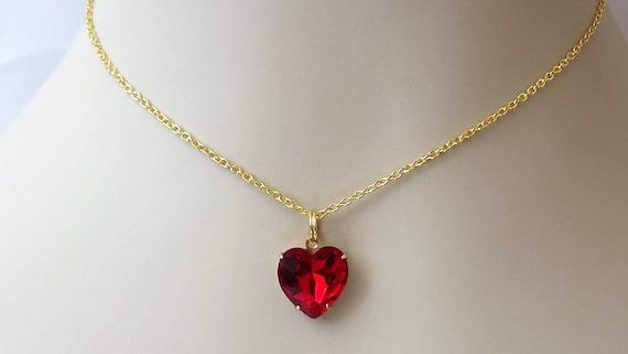 Red Crystal Heart Necklace Love Gift Jewellery Choker Birthday Wedding