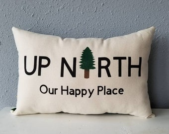 """Bear Creek Words Cabin Lodge Flannel Pillow Cover//16/"""" x 16/"""" or 18/""""x18/"""""""