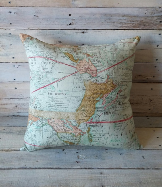 World map pillow cover accent pillow throw pillow couch etsy image 0 gumiabroncs Choice Image