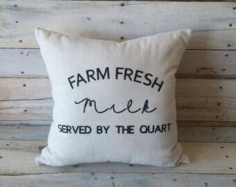 Fresh Farm Milk Pillow, Farmhouse Decor, Rustic Pillow, Decorative Pillow, Throw Pillow, Housewarming Gift, Gift For Her