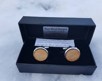 Whisky Barrel stave cufflinks- silver colour whiskey cufflinks-Scottish cufflinks-oak cuff links-gift for men