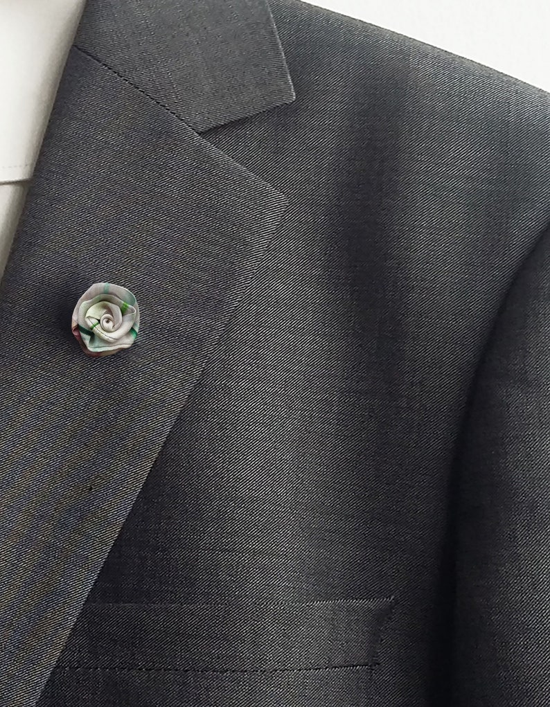 unique silk gifts for him rolled rosette wedding boutonniere handmade rose buttonhole Small white and green lapel flower suit stickpin