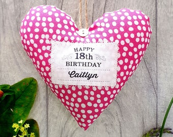 Personalised 18th Birthday Keepsake Gift / 18th Birthday Present. Fabric heart made in your choice of fabric. Gift Boxed