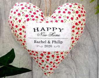 New Home Gift / Housewarming Gift - Personalised Fabric Heart. Made in Your Choice of Fabric. Supplied Gift Boxed