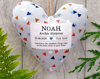 Baby Boy Personalised Keepsake Gift - Handmade Fabric Heart Decoration -  Supplied Gift Boxed. Choice of Fabric
