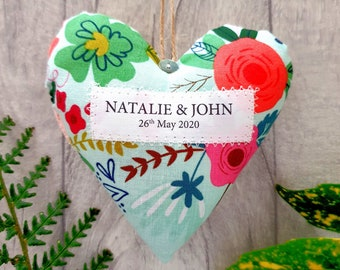 Personalised Wedding Couple Gift, Fabric Heart in Presentation Gift Box. Choice of Fabric.