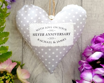 Silver Wedding Anniversary Gift - 25 years married - Personalised Heart Made in Your Choice of Fabric. Supplied Gift Boxed.