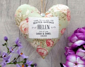 Personalised Bridesmaid Gift - Handmade Fabric Heart in Choice of Fabric - Gift Boxed. Thank You Present.