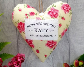 Personalised 40th Birthday Gift - Fabric Heart Made in Choice of Fabrics. Supplied Gift Boxed. Keepsake Letterbox Present