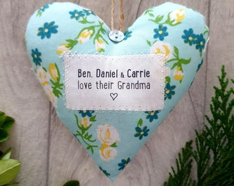 Gift for Grandma / Gran / Granny - Personalised Fabric Heart Decoration - choice of fabric -  Supplied Gift Boxed