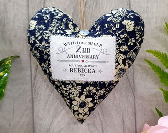 Personalised 2nd Second Wedding Anniversary Gift. Cotton Wedding Anniversary Keepsake. Cotton Fabric Heart Decoration. Gift Boxed.