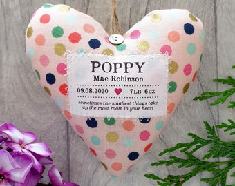 Personalised Baby Girl Keepsake Gift - Supplied Gift Boxed - Fabric Heart Shaped Ornament with Choice of Fabric / Scent