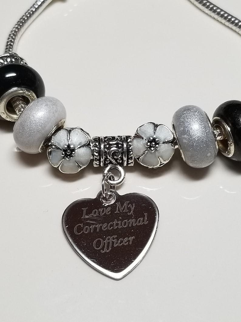 Corrections Thin Gray Line Gray /& Black Crystal Beads Handcuff European Bracelet