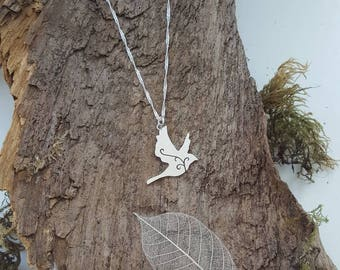 Sterling silver peace dove/bird pendant/necklace with scroll detail