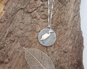 Handmade 925 Sterling Silver 'Heron'/bird pendant/necklace - bird lovers gift