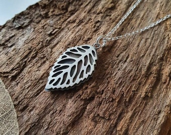 Leaf pendant/necklace - handmade in sterling silver