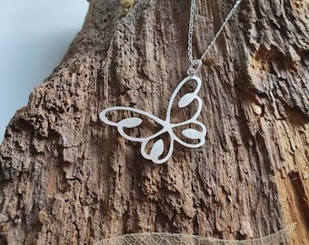 Butterfly pendant/necklace with hand pierced details - handmade 925 sterling silver