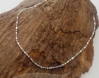 """Anklet - Sterling silver bead chain 9.5"""" (24cm), summer jewellery, anklet chain"""