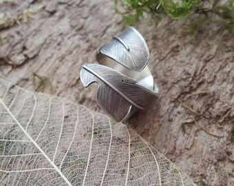 Feather ring - Handmade in 925 Sterling Silver - Adjustable