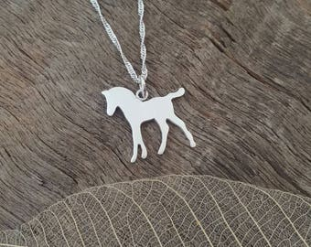 Cute Handmade Foal/horse pendant/necklace in sterling silver